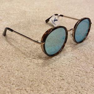 American eagle blue mirrored round sunglasses